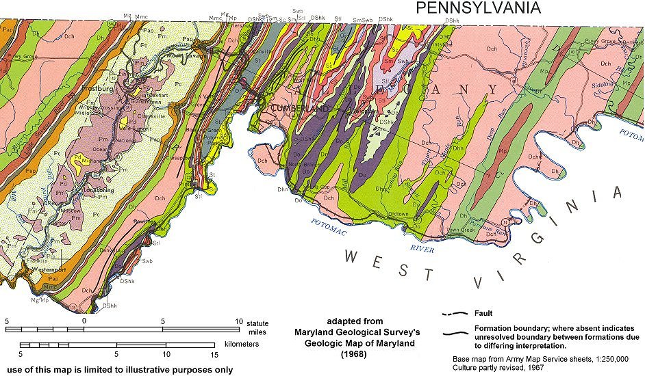 Geologic Maps Of Maryland Allegany County 1968