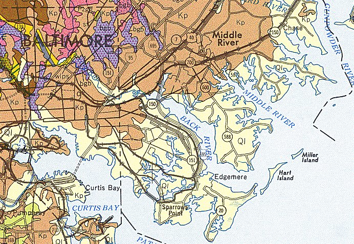 Geologic Maps of Maryland Baltimore County Southeast 1968