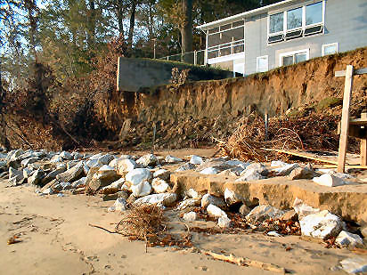 Based in part on images like this, MGS assumed that, along eroded shorelines, a 5-ft high bank retreated 5 ft. Annapolis Roads, Chesapeake Bay, Anne Arundel Co. [2]