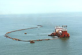 Sand is dredged from offshore deposits