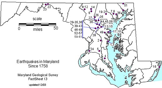 Index Map of Earthquakes in Maryland
